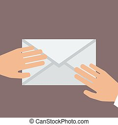 wohnung, envelope., abbildung, hand, vektor, besitz, style.