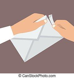 wohnung, envelope., abbildung, vektor, menschliche hände, style., öffnet
