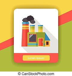 wohnung, fabrik, rauchwolken, ikone