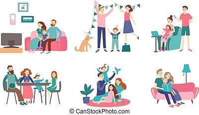 wohnung, familie, lesen, home., paar, house., junger, zusammen, ausgeben, vektor, abbildung, zeit, dekorieren, homeliness, kinder, buch