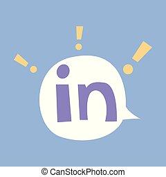 wohnung, farbe, app, linkedin, vektor, glänzend, logo, icon., ikone