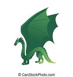 wohnung, flügeln, gefärbt, feuerdrachen, vektor, grün, hörner