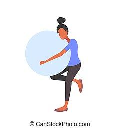wohnung, frau, begriff, lebensstil, arbeitende , gymnastisch, schwanger, gesunde, fitball, länge, kugel, voll, besitz, fitness, übungen, m�dchen, schwangerschaft, heraus