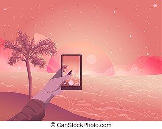 wohnung, frau, nehmen, abbildung, bild, strand., hand, sonnenuntergang
