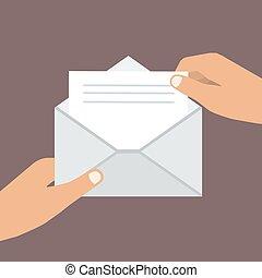 wohnung, geöffnet, envelope., abbildung, hand, vektor, besitz, style.