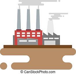 wohnung, gebäude, begriff, fabrik, industrielles design, style.