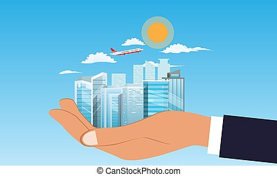wohnung, gebäude, wolkenhimmel, illustration., hand., fliegendes, eben, hintergrund., vektor, besitz, cityscape, geschäftsmann, oder