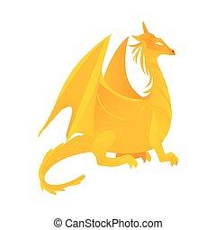 wohnung, gefärbt, gelber , feuerdrachen, vektor, hörner, flügeln