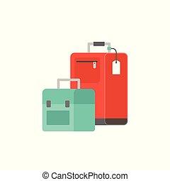 wohnung, gepäck, abbildung, tasche, vektor, design, ikone