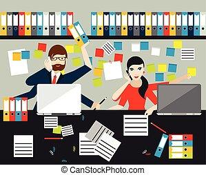 wohnung, geschaeftswelt, büro., angestellte, arbeit, vector...