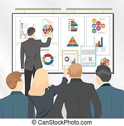 wohnung, geschaeftswelt, verkäufe, abbildung, direktor, team., vektor, plan, präsentieren, bestand