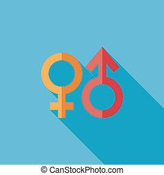 wohnung, geschlecht symbol, langer, schatten, ikone