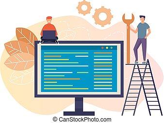 wohnung, grafik, leute, technische unterstützung, mannschaft, freigestellt, abbildung, vektor, design, charaktere, online, concept., karikatur