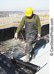 wohnung, hülle, filz, roofing, dach, arbeiten