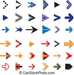 wohnung, heiligenbilder, abstrakt, abbildung, symbole, vektor, pfeil, oder