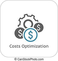wohnung, icon., kosten, optimization, design.