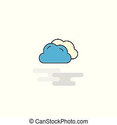 wohnung, icon., vektor, wolkenhimmel