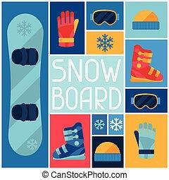 wohnung, icons., sport ausrüstungen, snowboard, hintergrund