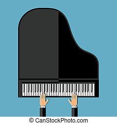 wohnung, illustration., hände, vektor, piano., großartig, spielende , design.