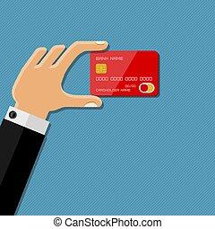 wohnung, illustration., hand, kredit, vektor, besitz, design., card.