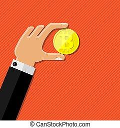 wohnung, illustration., menschliche hand, vektor, besitz, bitcoin., design.
