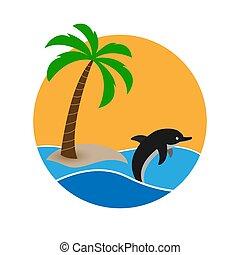 wohnung, insel, sonne, delfin, tropische , design, hintergrund, logo, waves.