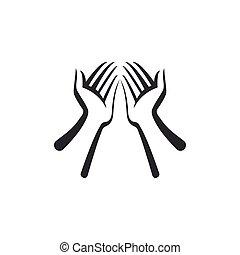 wohnung, isolated., abbildung, vektor, hände, ikone, design.