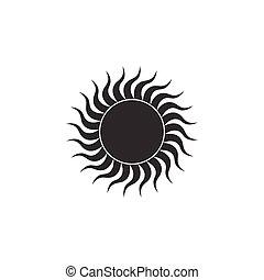 wohnung, isolated., sonne, abbildung, vektor, design., ikone