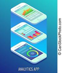 wohnung, isometrisch, begriff, app, abbildung, analytics, vektor