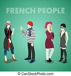 wohnung, isometrisch, franzoesisch, leute, clothes., traditionelle , vektor, abbildung, 3d