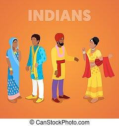 wohnung, isometrisch, indische , leute, clothes., traditionelle , vektor, abbildung, 3d