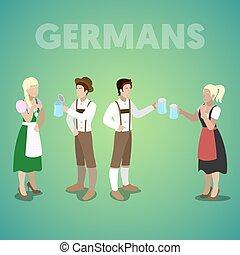 wohnung, isometrisch, leute, deutsch, clothes., traditionelle , vektor, abbildung, 3d