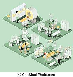 wohnung, isometrisch, satz, räumlichkeiten, medizinische klinik, ausrüstung, passend, illustrationen, 3d