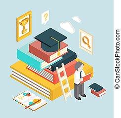 wohnung, isometrisch, web, studienabschluss, infographic, bildung, 3d