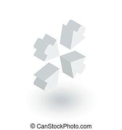 wohnung, isometrisch, zentrieren, pfeile, vektor, icon., 3d