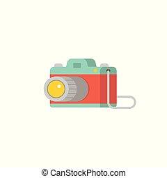 wohnung, klassisch, fotoapperat, abbildung, vektor, design, ikone