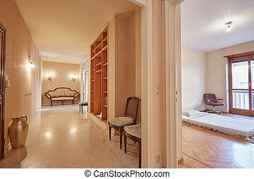 wohnung, korridor, innerer blick, schalfzimmer