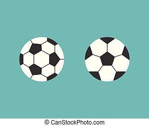 wohnung, kugel, fußball, abbildung, vektor, design, ikone
