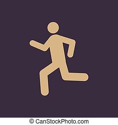 wohnung, laufen, symbol., rennender , icon., mann