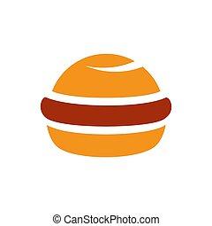 wohnung, lebensmittel, -, schnell, hamburger, vektor, abbildung, ikone, karikatur