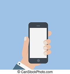 wohnung, leer, telefon, halten, in, hand