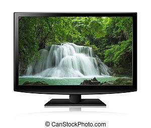 wohnung, leuchtdiode, natur, fernsehapparat schirm, tapete, abbildung, realistisch, lcd, oder