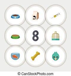 wohnung, mahlzeit, satz, haussperling, tier, elements., käfig, wasser, schließt, auch, fishbowl, vektor, kanninchen, gefã¤ngnis, objects., vogel, andere, ikone