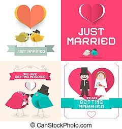 wohnung, married., vektor, gerecht, set., layout., papier, design, retro, wedding, karten