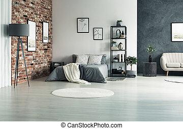 Wohnung, Mit, Grau, Wände
