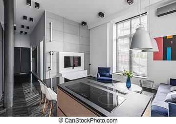 Wohnung, grün, grau, details. Dekorativ, wohnung, satz ...