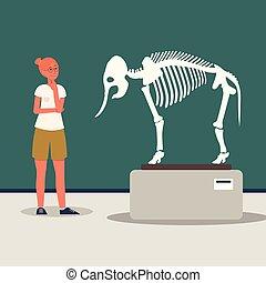 wohnung, museum, besucher, illustration., dinosaurierer,...