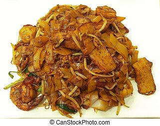 wohnung, nudel, meeresfrüchte, malaysier, gebraten, rühren