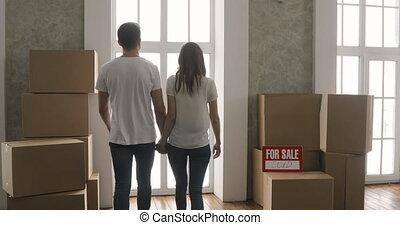 wohnung, paar, tag, kästen, tragen, bewegen, neues heim, oder