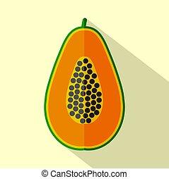 wohnung, papaya, abbildung, vektor, design, ikone